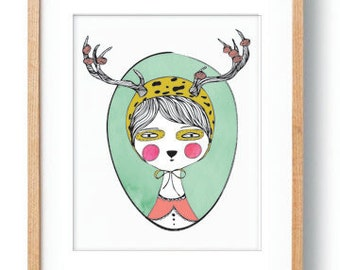 Digital Art Print Whimsical Woodland Creature Kids Wall Art Decor Children's Wall Decor Woodland Theme Bedroom Deer Antlers Whimsical Print
