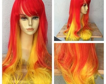 Ready to Ship Flame Red and Yellow Long Shake and Go Costume Wig