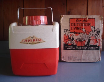 Vintage Picnic Jug    Retro  Orange   Imperial  with Box   Cute for the Glamper!!!