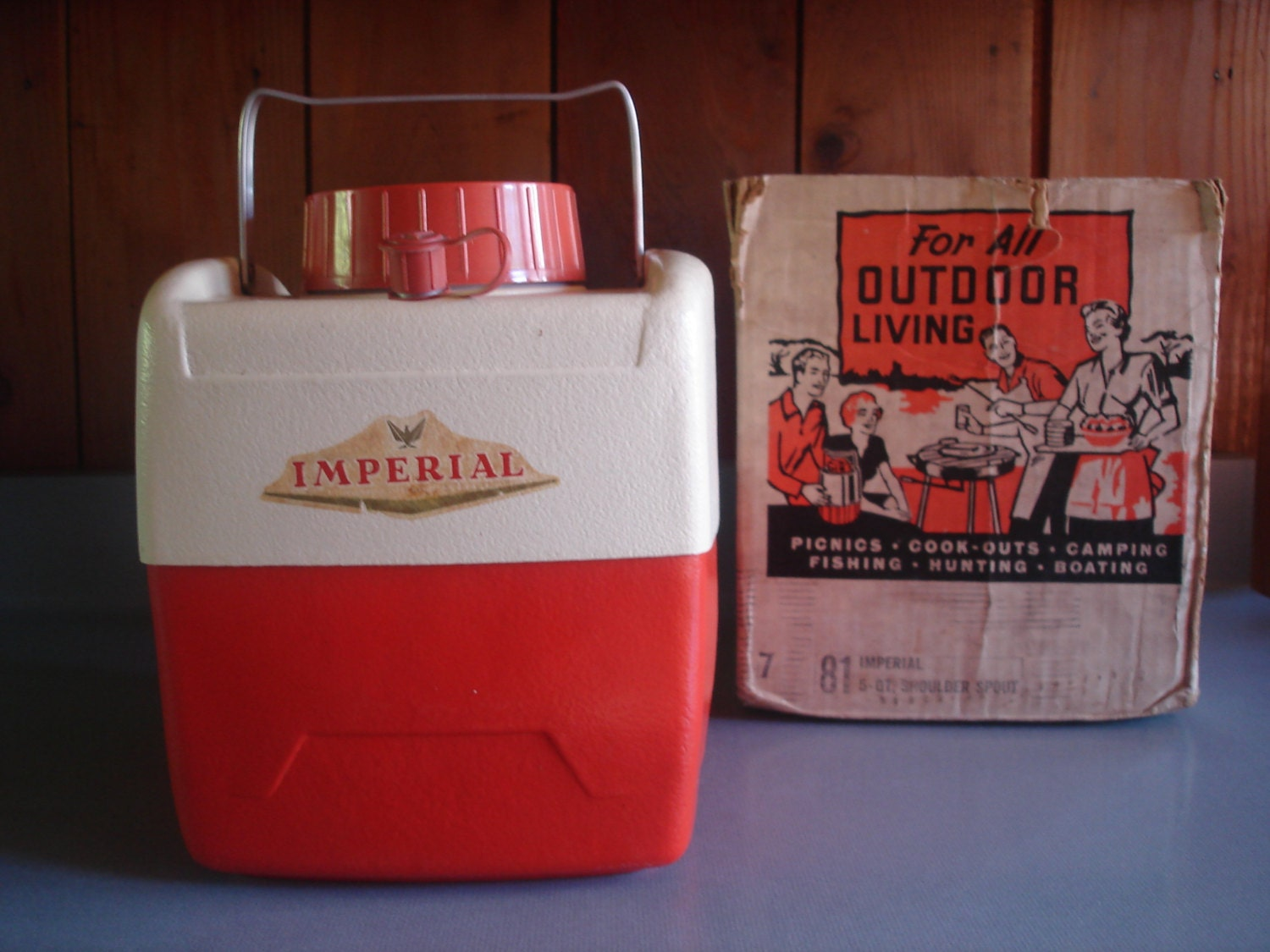 Vintage Picnic Jug Retro Orange Imperial With Box