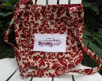 Red Print Shoulder Bag. Crossbody Bag. Purse. Bag. Handbag. Antique Cadillac.Vintage Cadillac Machine Embroidery. One of a Kind. Handmade
