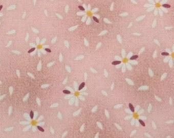 2545B - Sale - Tiny Daisy Flower with Petal in Dusty Pink , Flower Fabric, Floral Fabric, Tiny Flower