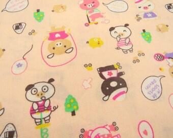 2600A -- Lovely Pigs Fabric in Peach , Cute Animal Fabric , Kawaii Fabric