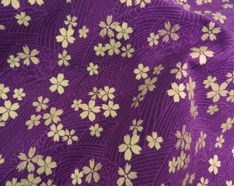 2610A - Gold Sakura Blossoms in Purple , Gold Print Flower Fabric , Japanese Kimono Style