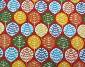 2611B - Leaves in Fire Brick , Round Leaves Fabric, Plant Fabric