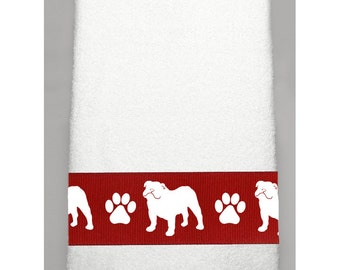 Bulldog (English) Hand Towel in Your Choice of Colors -  Dogs and Paws with or without name