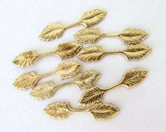 Vintage Leaf Bail Fold Over Leaves Pendant Metal Brass Finding 25mm vfd0264 (8)