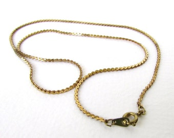 Vintage Brass Necklace Serpentine Chain Delicate Finished Finding 18 inch chn0169 (2 pieces)