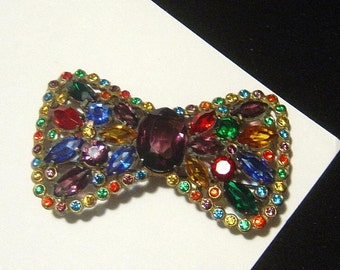 Vintage Bow Tie Brooch full of color