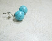 Turquoise Stud Earrings Sterling Silver Post 8 mm