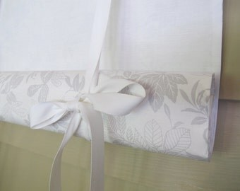 White and Gray Leaf Pattern 60 Inch Long Swedish Roll Up Shade Stage Coach Blind