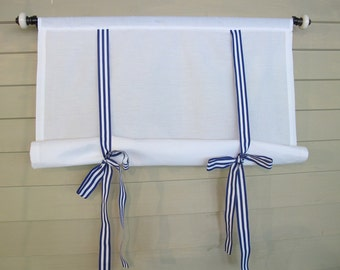 White 36 Inch Long Cotton Swedish Roll Up Shade Stage Coach Blind Royal Blue Gross Grain Ribbon Ties