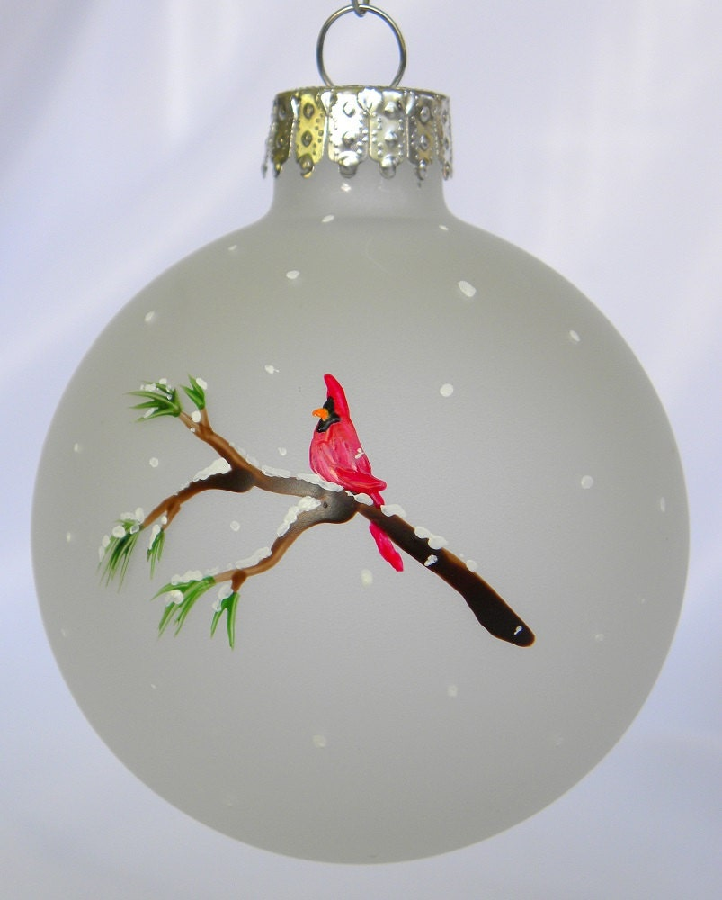 Cardinal christmas ornament frosted glass hand painted for Glass christmas ornaments to paint