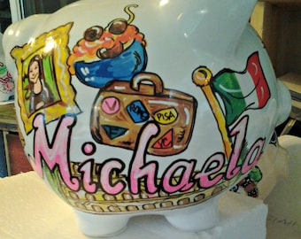 Piggy Bank Personalized Handpainted Italy Dreamtrip Country of Your Choice Bank