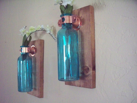 Wall Decor Set Of 2 Colored Glass Bottles On Rustic Wood