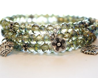 Gypsy Memory Wire Bracelet, Green Yellow Citrine Crystal with Earthy thyme flower and leaf charms