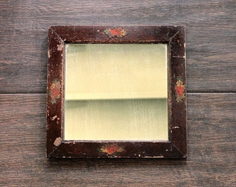 Have a Look - Antique Mirror - Vintage - Home Decor - Glass - Wood - Handmade - Floral - Flowers - Victorian - Rustic - Square