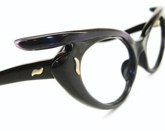 Vintage French 1950s Purple Cat eye Glasses Eyeglasses Sunglasses