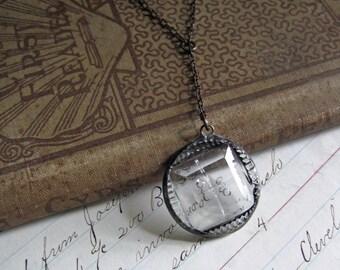 Vintage Glass Button Pendant Necklace