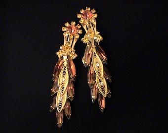 Vintage D&E, DeLizza and Elster Juliana Topaz Rhinestone Filigree Earrings
