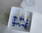 SALE - Handbag Brooch - Hand built and hand painted Blue Delftware Porcelain