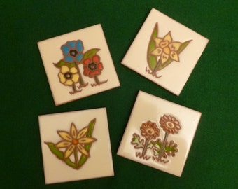 Jennifer Roche, 1976, set of 4 Floral Tiles, Trivets, Coasters