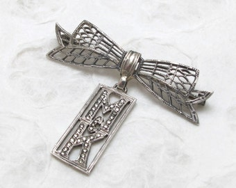 Art Deco Sterling Silver Monogrammed Marcasite And Bow Brooch/Pin