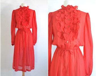 Vintage 70s Sheer Red Tuxedo Ruffle Dress  - Medium