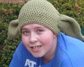 Crochet Star Wars-Inspired Yoda Hat/ Photo Prop for Preteen/Teen/Adult