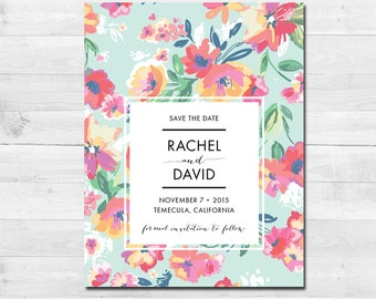 Beautiful Bright Floral Printable SAVE THE DATE Calligraphy themed card wedding - Download