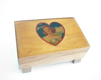 Vintage Wood Jewelry Memory Gift Box Decoupage Glamour Girl Heart Mid Century Valentines Day