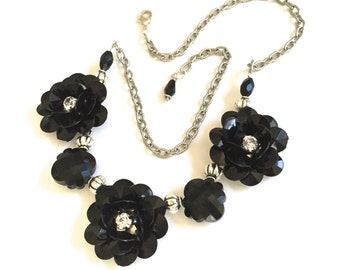 Black Daisy Statement Necklace