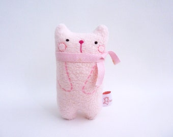 Holiday Decor Cat, Desk Toy Cat, Cute Art Doll Cat, Stuffed Cat Pink - Gift For Colleagues