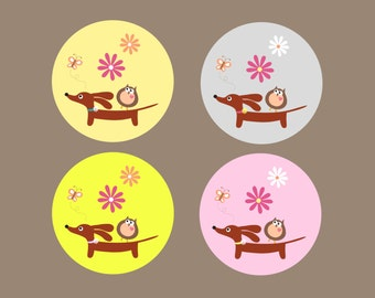 Dachshund Stickers - Doxie and Owl in the Daisy Garden - Set of 48 Matte Round Dog Stickers