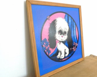 70s Cute Kawaii psychedelic Dog Wall Art Vintage Adorable Almost neon Animal Picture Butterfly Cartoon on Board Pink Blue White Black
