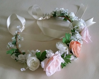 Little Girl Flower crown Peach Pink cottage chic ready to ship Bridal summer  Wedding Hair Wreath accessories baby photo prop headband halo