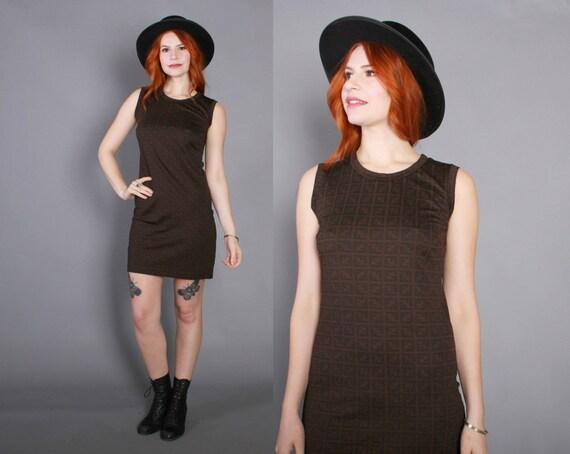 90s Authentic FENDI Logo Print DRESS / 1990s Brown & Black A-Line Shift Dress