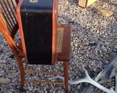 Large Vintage Black w/Brown Sewn-on Trim Luggage