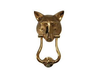 ON SALE - Vintage Solid Brass Fox Head Door Knocker