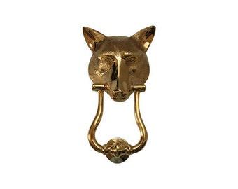 Vintage Solid Brass Fox Head Door Knocker