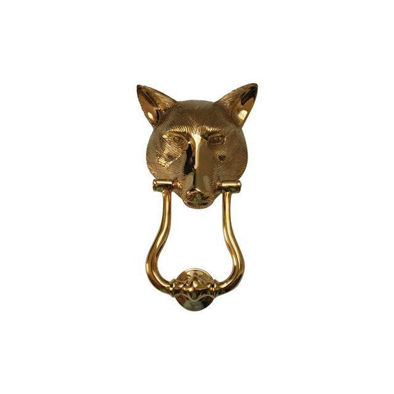 Vintage solid brass fox head door knocker - Fox head door knocker ...