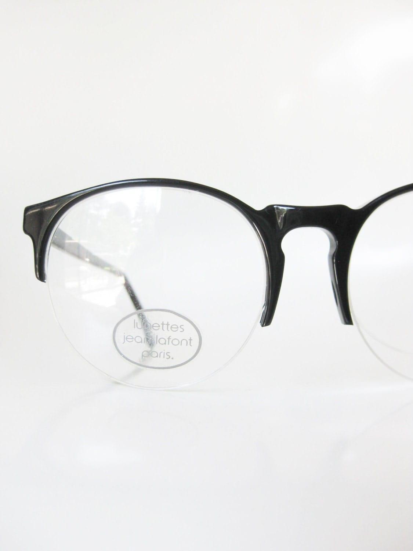 Lafont Round Eyeglass Frames : 1960s Round Black Sunglasses Jean Lafont Paris France