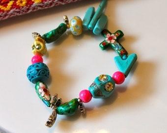Sugar Skull Bracelet - Skull Bracelet - Skull Jewelry - Boho Jewelry - Boho Bracelet - Calveras Bracelet - Calaveras Jewelry