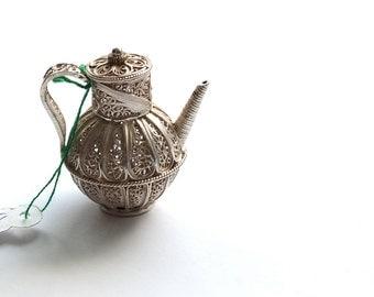 Miniature Teapot Sterling silver filigree