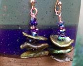Mossy Olive Green Heishi Pearls Boho Earrings