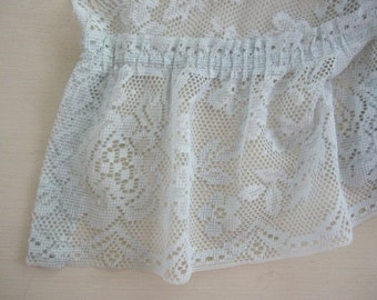 Lace Curtains, Set of 2 Sea Foam Green Lace Ruffled Curtain Swags...i have a total of 2 sets available