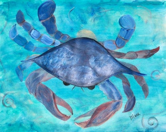 Blue Crab pillow case from my art