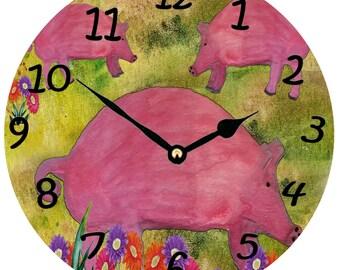 Pig daisy farm wall clock from my art