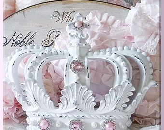 Distressed White Shabby Chic Fleur de Lis Wall / Bed Crown Canopy Pink Princess Pink Pearls & Pink Princess White Wall or Bed Crown Canopy Your Choice