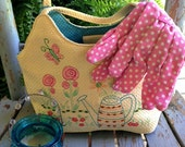 Garden Purse and Pink Polka Dot Garden Gloves